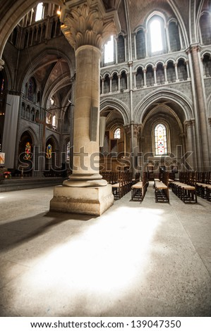Chairs In side of Notre-Dame Cathedral - Lausanne, Switzerland - stock photo