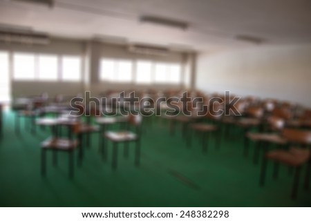 chairs in the big classroom blurred background - stock photo