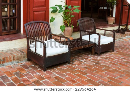 Chairs in the garden - stock photo