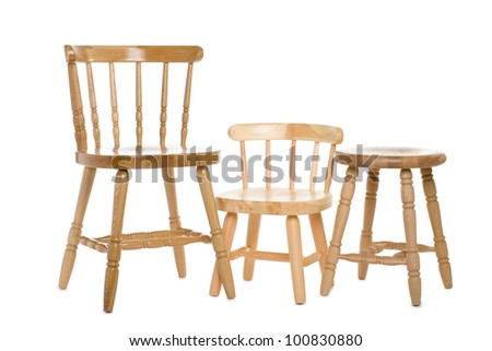 Chairs made of natural wood isolated on white