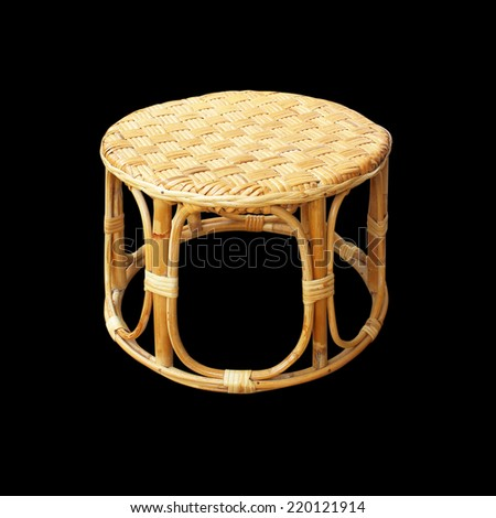 Chairs made of woven rattan on black background - stock photo