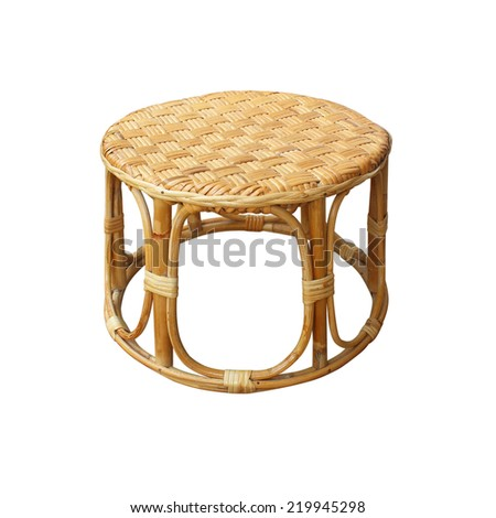 Chairs made of woven rattan on white background - stock photo