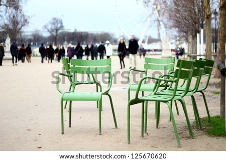 Chairs of the Tuileries garden, Paris France - stock photo