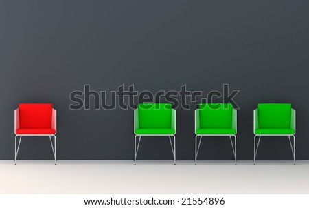 Chairs scene 3d high resolution rendering. Concept of individuality, leadership, diversity, loneliness...