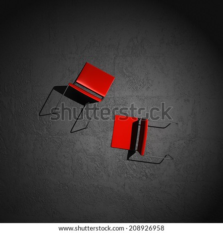 chairs stretched out on the floor  - stock photo