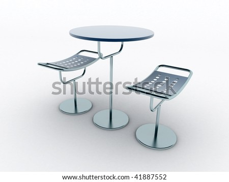 chairs, table - stock photo