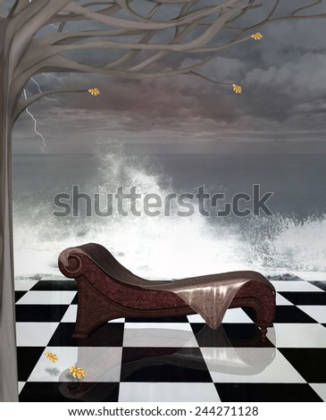 Chaise longue in a surreal seascape - stock photo