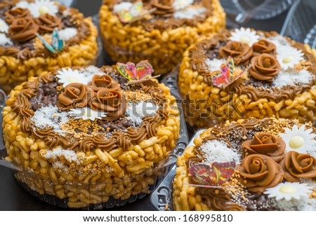 Chak-Chak - Tatar traditional dainty made from pastry grains and nuts - stock photo