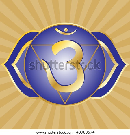 chakra series: ajna or third eye chakra symbol - stock photo