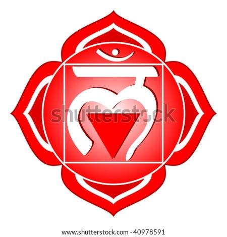 chakra series: muladhara or root chakra symbol - stock photo