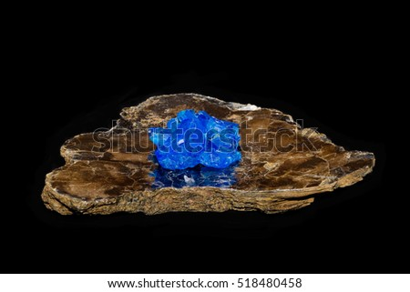 chalcanthite (blue vitriol or copper sulfate) crystal on a slab of mica; isolated on black