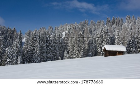 Chalet and trees under the snow in the idyllic landscape of the dolomiti in Val di Fassa - stock photo