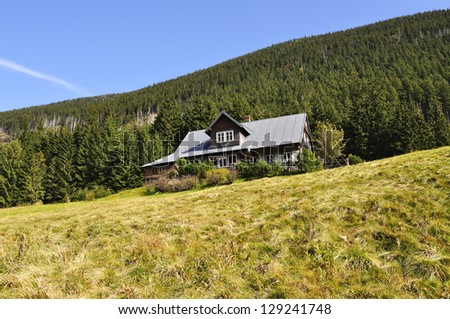 chalet in the national park Krkonose Czech - stock photo