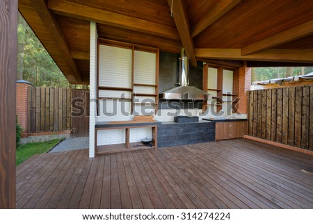 Chalet in the woods - stock photo