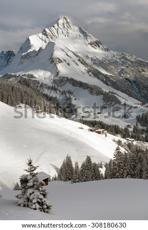 Chalets near the village of Warth-Schröcken, and Mount Biberkopf, Warth am Alberg,Vorarlberg, Austria