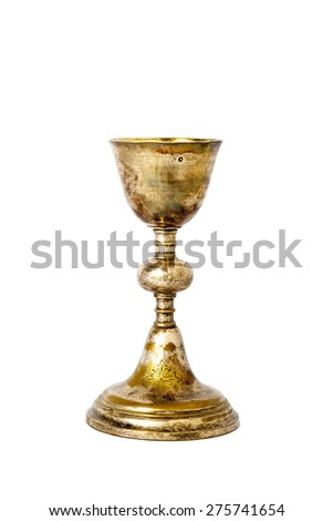 chalice Eucharist / golden communion cup - stock photo
