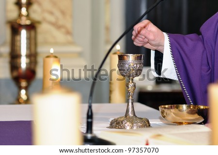 chalice on the altar for worship - stock photo