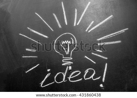 Chalk and light bulb with rays written by white chalk on the black chalkboard,  light bulb idea , business idea , business concept ,Innovation concept