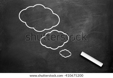 Chalk and thinking symbol write on chalkboard background