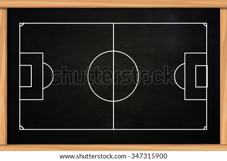 Chalk board drawing of empty soccer or football game strategy template on blackboard