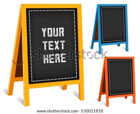 Chalk board sidewalk signs, three folding easels with brass chains, gold, turquoise, orange frames for business, blackboard background with copy space.