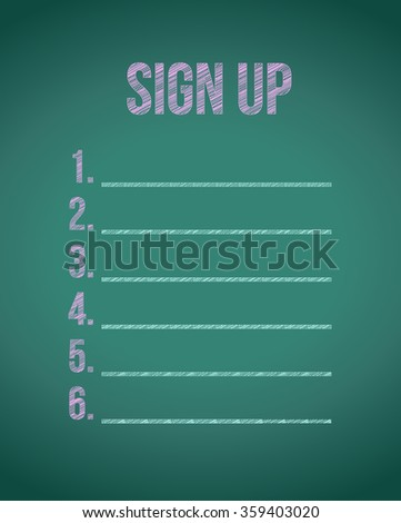chalk board sign up list illustration design graphic - stock photo