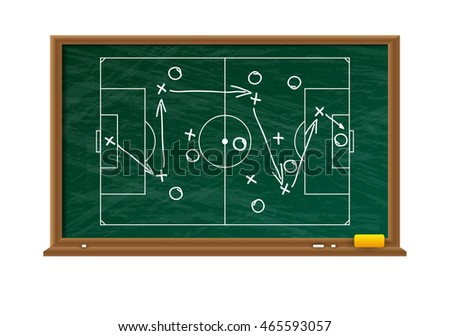 Chalk board with football game field. tacticts strategy and scheme. illustration on white background