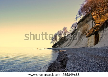 Chalk Cliff at the german Baltic Sea Coast of Ruegen Island - stock photo