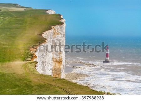 Chalk cliffs and lighthouse at Beachy Head near Eastbourne. East Sussex. England - stock photo