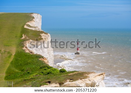 Chalk cliffs at Beachy Head near Eastbourne. East Sussex. England - stock photo