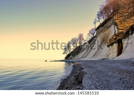 Chalk Coast of Ruegen Island, german Baltic Sea Coast - stock photo
