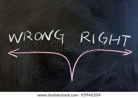 Chalk drawing -  concept of right or wrong - stock photo