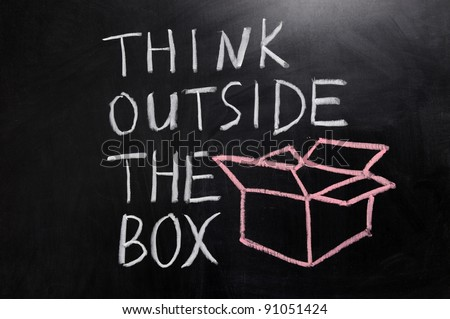 "Chalk drawing - concept of ""think outside the box"" - stock photo"