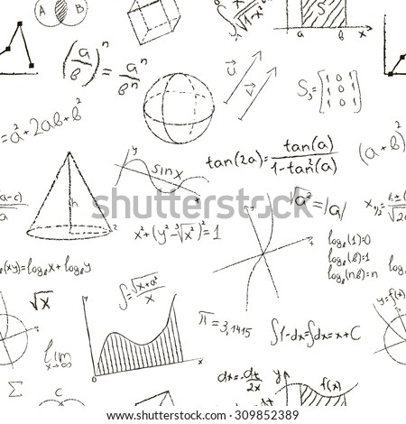 Chalk drawing effect math formulas graphs stock illustration chalk drawing effect math formulas and graphs on white background seamless pattern illustration ccuart Gallery