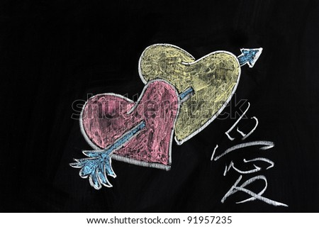 "Chalk drawing - Hearts, arrow and ""Love"" word in Chinese - stock photo"