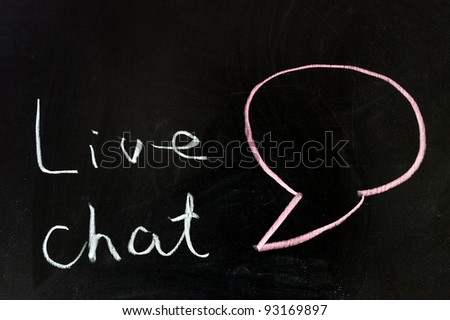 Chalk drawing - Live chat - stock photo