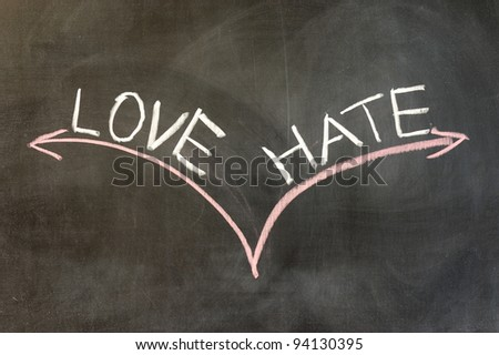 Chalk drawing - Love or hate - stock photo
