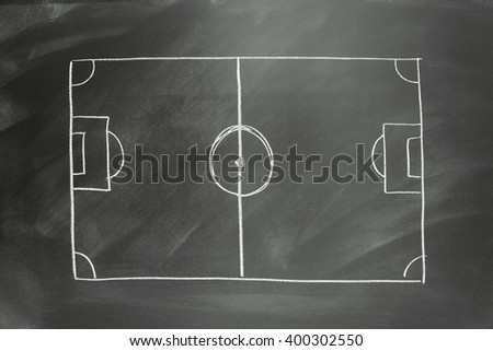 chalk drawing of a soccer field - empty for strategy