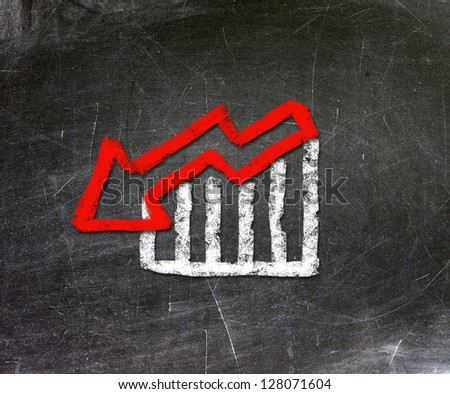 Chalk drawing on the stock market decline. The economic concept of depression. - stock photo