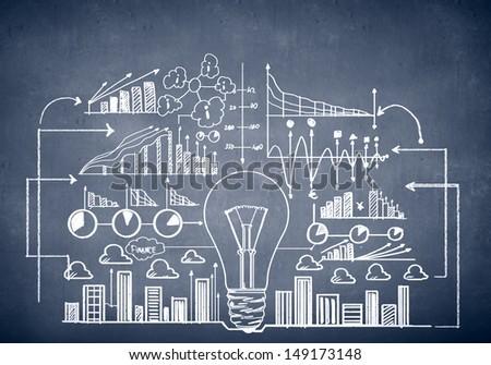 Chalk drawn business plan sketch. Idea concept - stock photo