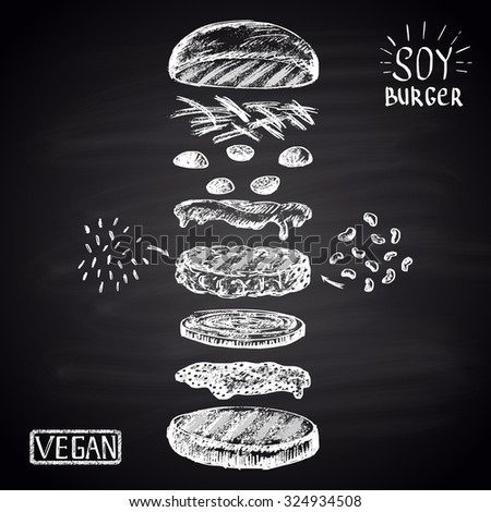 Chalk drawn illustration with ingredients of vegan burger (soybean, brown rice). No meat! - stock photo