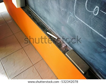 Chalk in its rail with blackboard