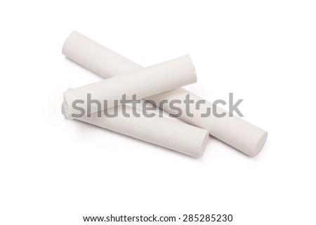 chalk isolated on white - stock photo