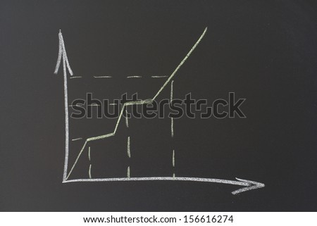 chalk on a blackboard drafted growth chart - stock photo