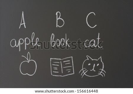 chalk on a blackboard shows apple, a book and a cat