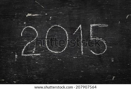 Chalk on black board: 2015 - stock photo