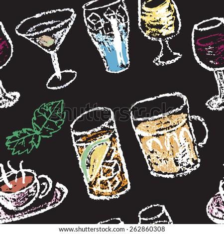 Chalk on board. Raster illustration. Seamless pattern. - stock photo