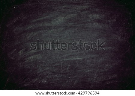 Chalk rubbed out on blackboard for background. grunge Chalk rubbed wall. Chalkboard Texture background for education add text. - stock photo