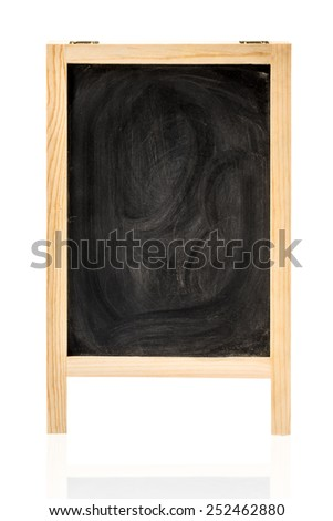 Chalk rubbed out on blackboard isolated with Clipping path for insert Photo