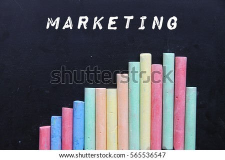 Chalk with blackboard and text marketing.
